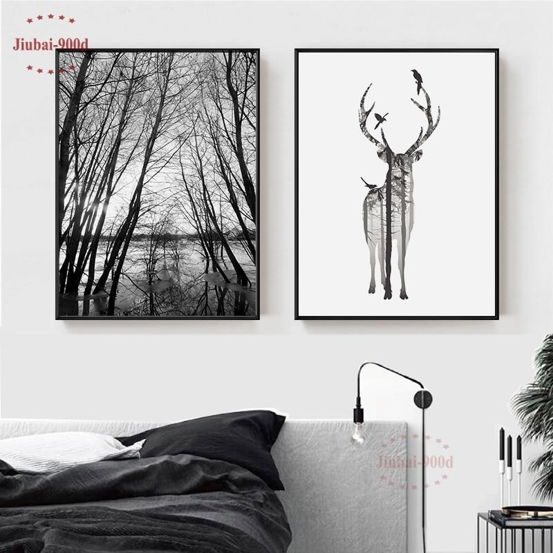 Северный стиль, Лесной холст, постер, олень, настенные фотографии для гостиной, постеры и принты, Настенный декор BW001