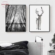 Affiche de peinture en toile forêt de Style nordique   Images murales de cerf pour salon, affiches et imprimés, décor mural BW001