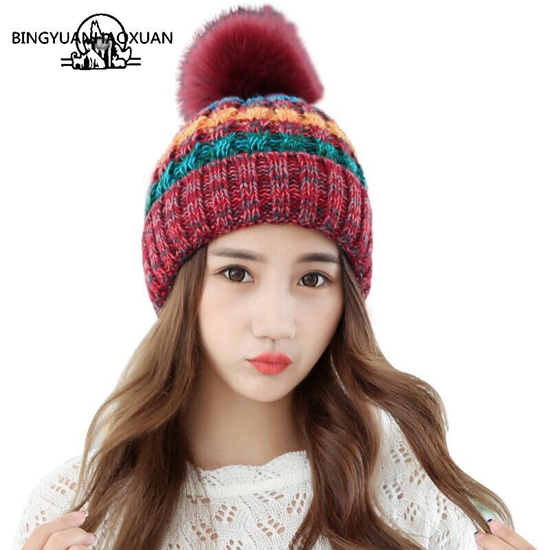 Bingyuanhaoxuanelegant Для женщин зимняя шапка женские Осень трикотажные Шапки для женщины Кепки осень и зима Дамская мода Skullies шапочки