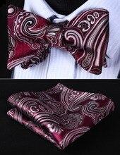 BP923US Burgundy Gray Paisley 100%Silk Jacquard Woven Men Self Bow Tie BowTie Pocket Square Handkerchief Hanky Suit Set