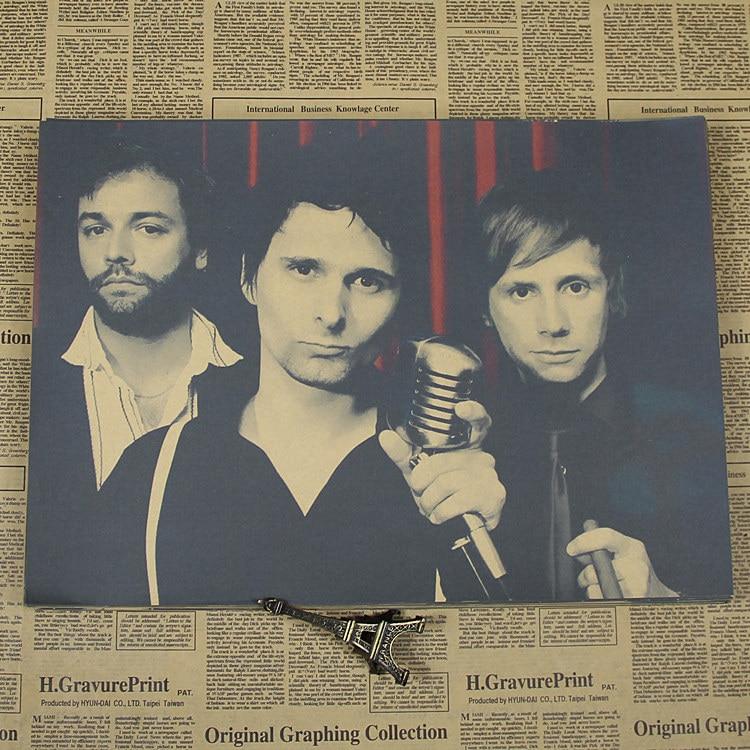 Muse rock band Mousika star cartel retro de Kraft bar cafetería pintura decorativa