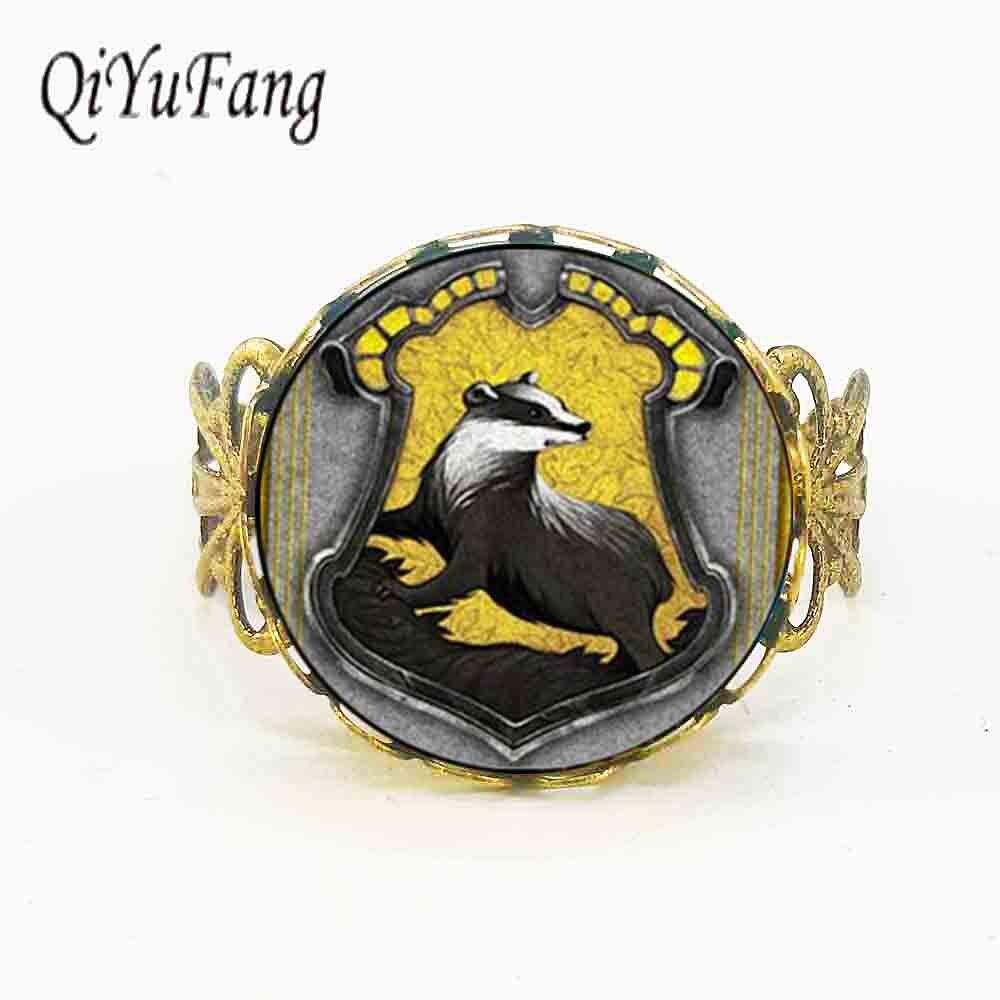 Nueva moda Hogwarts Hufflepuff House Crest Rowena Ravenclaw anillo joyería HP regalos cristal cabujón anillos ajustable acero bronce