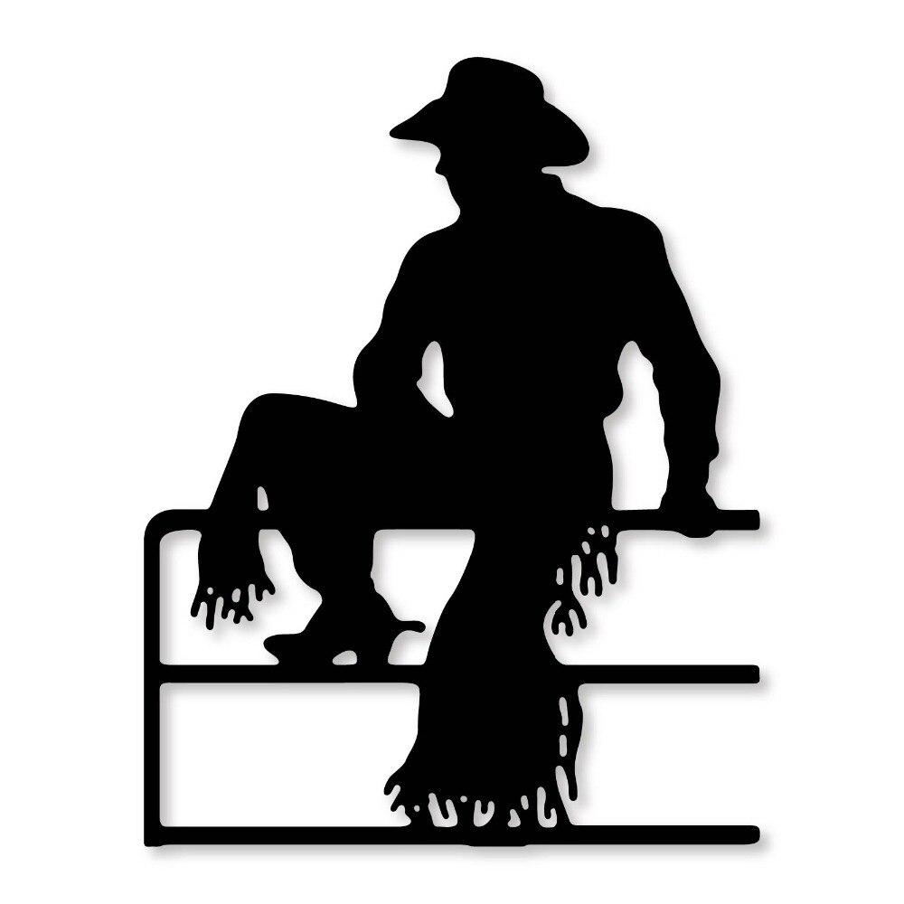 95*75mm Cowboy sitting on fence Metal Cutting Dies Stencil DIY Scrapbooking Photo Album Paper Card Decor Craft Die cuts 2019 New