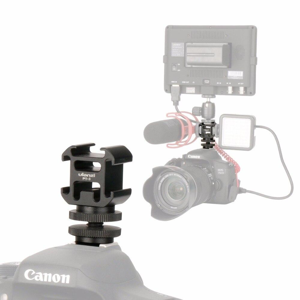 Ulanzi Triple Zapata caliente montaje de cámara tres Zapata fría soporte de trípode soporte para Canon DSLR Video micrófono Led Video Luz