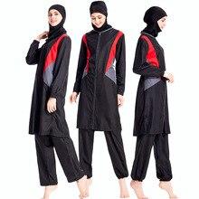 Moslim Badpak Rits Midden-oosten Vrouwen Islamitische Vrouwen Zwemkleding Conservatieve Badmode driedelige