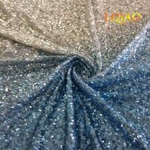 1 Yard Hohe Qualität Sparkly Stickerei Mesh Spitze Türkis-Silber Gradienten Pailletten Stoff Für Kleid/Party Weihnachten Dekoration