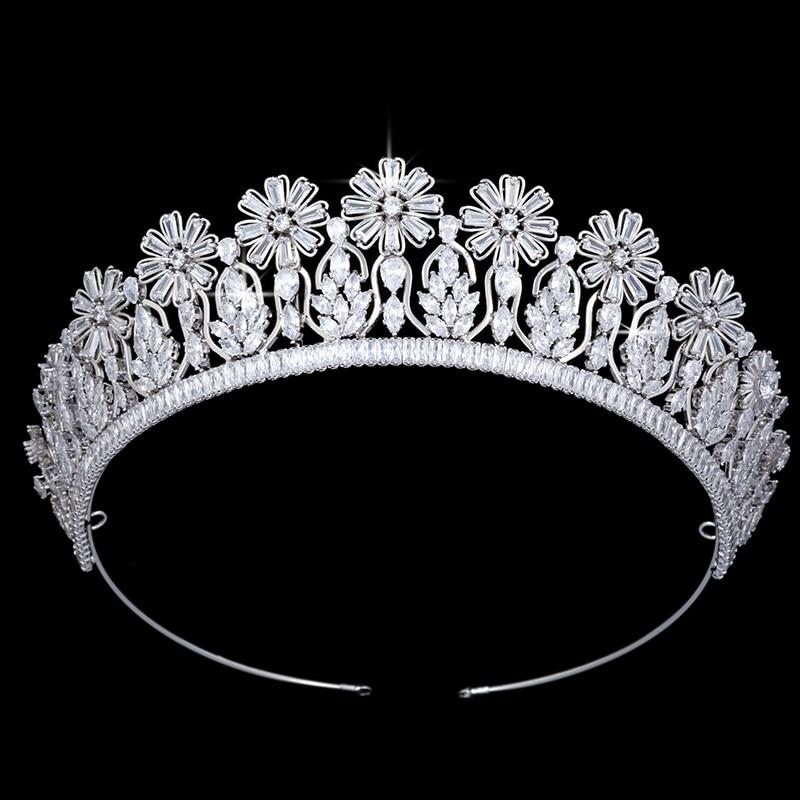Hadiyana casamento tiara nupcial girassol headpiece coroa feminino acessórios da menina coroa de cabelo jóias bc5094