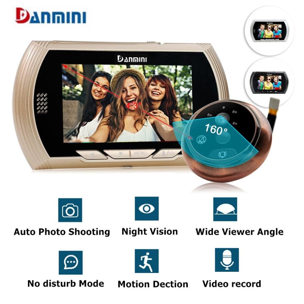 "Danmini 4.3""HD Color Screen Smart Doorbell Viewer Digital Door Peephole Viewer Camera Door Eye Video record IR Night vision"