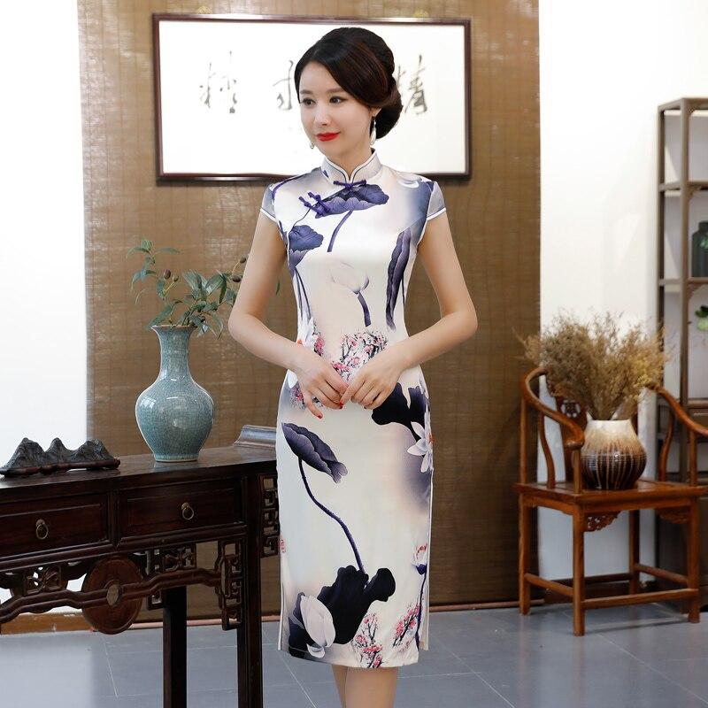 Moda Sexy cheongsam para mujer Sexy Vestido de estilo chino rayón Qipao Slim vestidos de fiesta señora botón Vestido flores S-3XL