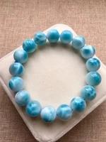 genuine natural larimar bracelet women men 12 8mm party gift powerful stretch crystal round bead bracelet jewelry aaaaaa
