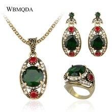 3 unids/lote joyería vintage turca juegos con forma de ojo oro cristal verde piedra anillo collar aros para mujeres productos de moda 2018