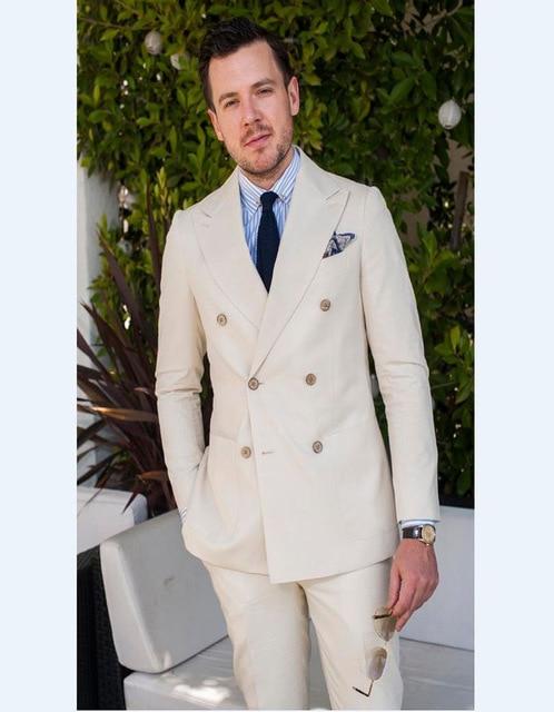 2018 Homens Ternos Padrinhos Três Bolsos Trespassado Bege Festa do Casamento Do Noivo Smoking Terno Slim Fit Ternos de Mne (Jacket + calças)