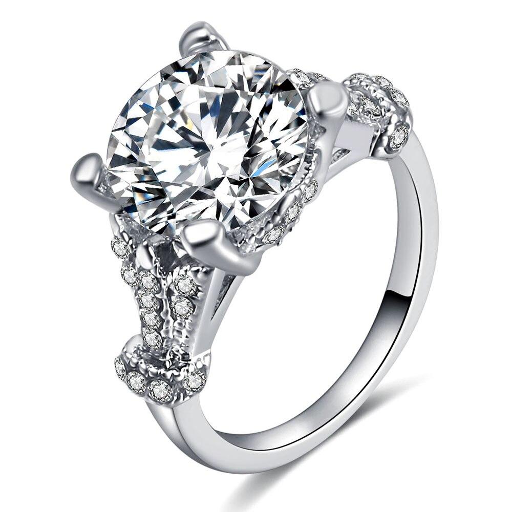 Vienkim 2019 Fashion Luxury Women Engagement Jewelry Silver Color Full Round Zircon Female Wedding Finger Ring