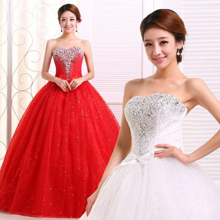 Vestidos De boda baratos 2016 De talla grande, bustier blanco y rojo,...