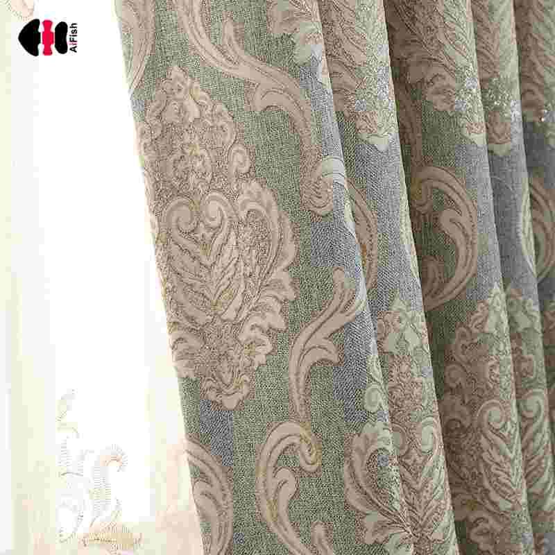 ستائر دمشقية أوروبية فاخرة من الجاكار ، لوحة معالجة النوافذ ، غرفة المعيشة ، الزفاف ، WP245C