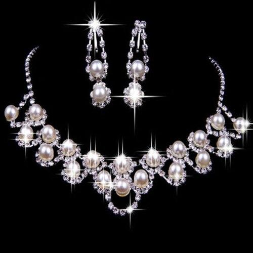 2020 nova moda casamento nupcial strass pérola banhado colar brincos chique conjunto de jóias de cristal para momen presente a9cg crystal jewelry set jewelry setscrystal necklace earrings set -