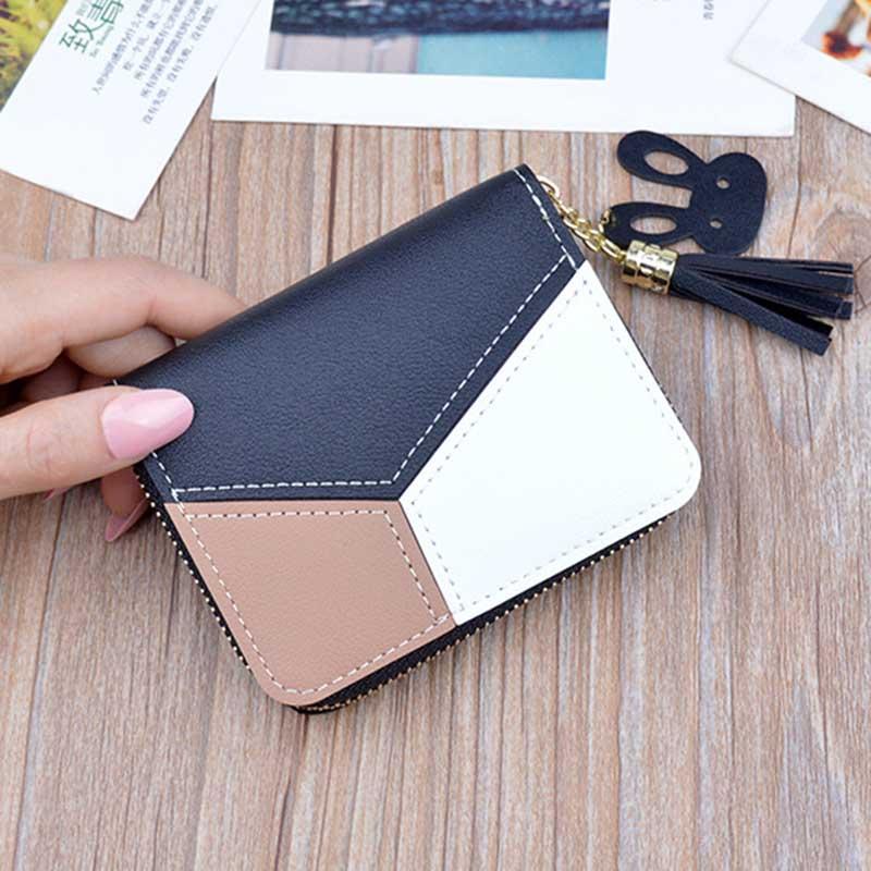 Nueva cartera para mujer, carteras cortas, monedero con cremallera, carteras con paneles de retazos, monedero de monedas de moda, tarjetero de cuero. W055