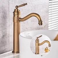 Robinet de lavabo de salle de bains en cuivre Antique  robinet de melangeur deau froide et chaude de Style classique europeen  robinet devier monte sur le pont a poignee unique