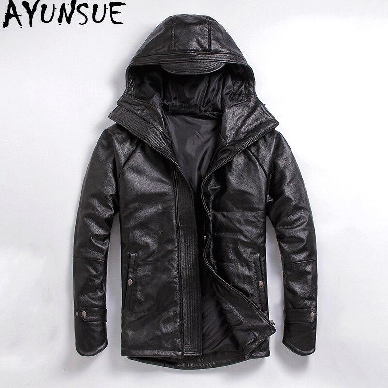 AYUNSUE Cowhide Genuine Leather Jacket Men Autumn Winter Coat for Men Hooded Motorcycle Jacket Plus Size Cow Leather Coats L-C-3