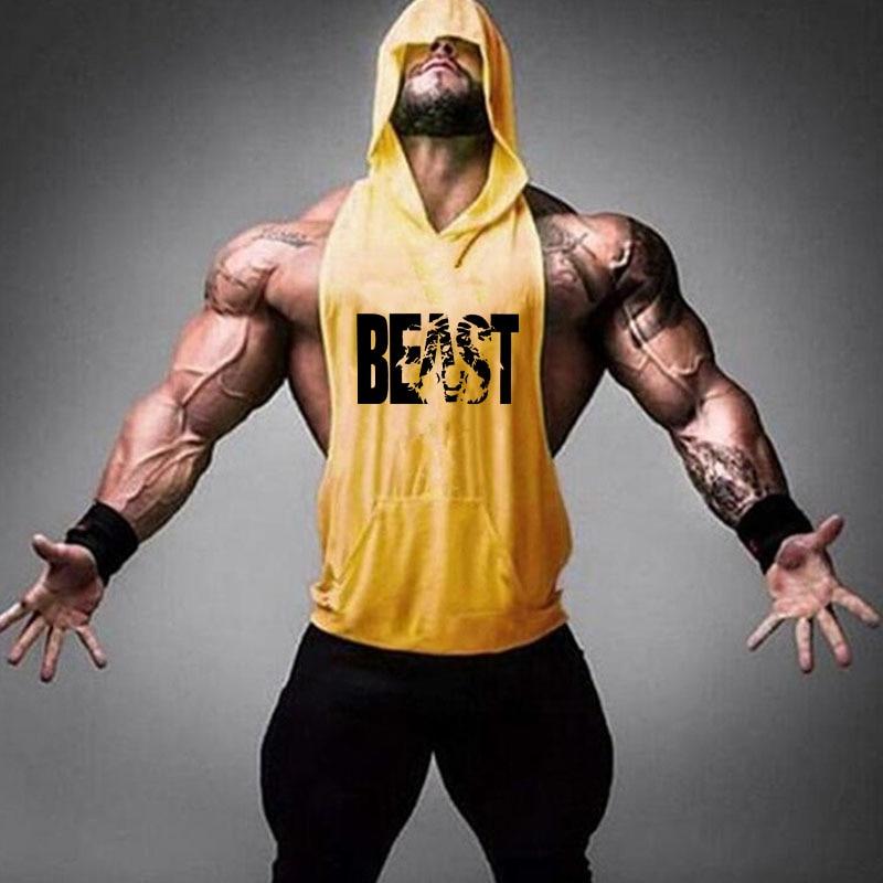 Camiseta sin mangas de algodón con capucha para hombre de marca Gym Clothing Fitness