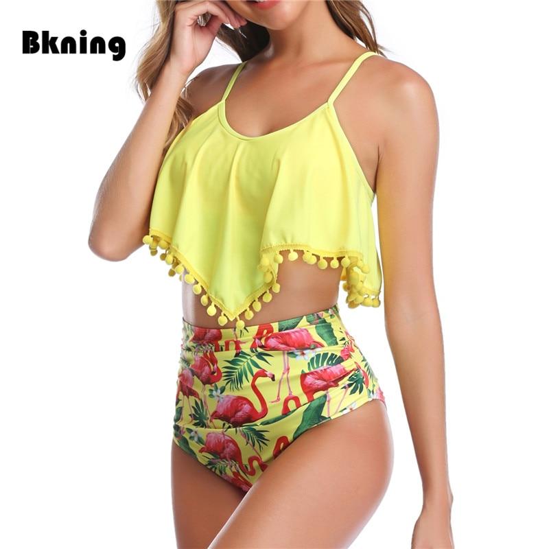 Traje de baño Ruffle Plus Size para mujer, Bikini de cintura alta 2019, traje de baño para mujer, Bola de Pelo amarilla, Tankini traje de baño, flamenco, XXL grande