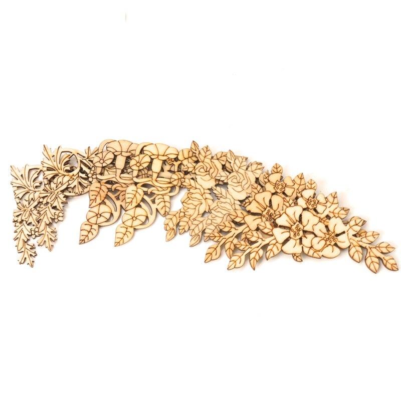 Laço misto padrão de madeira scrapbooking coleção arte artesanato para acessório artesanal costura decoração para casa diy 4 pçs