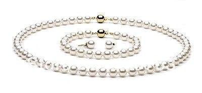 xiuli 00251 9-10mm white AAAA top rating pearl sets necklace&bracelet&earrings 14KGP