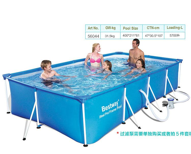 Большой квадратный бассейн с металлической рамой, 56405 Bestway, 400*211*80 см