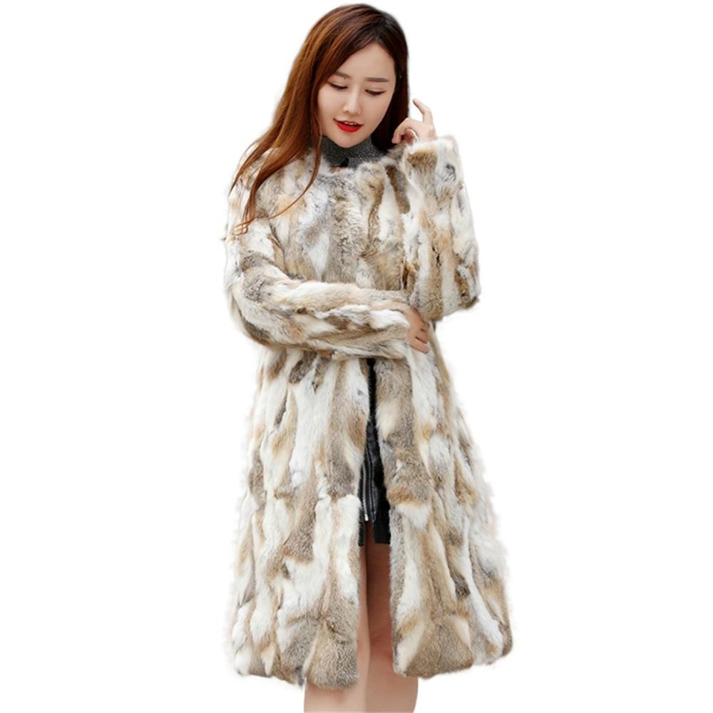 Рождественское Платье длинное женское пальто из натурального кроличьего меха длиной 90 см