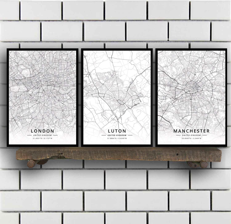 Póster con mapa del Reino Unido, Luton, Manchester, Mansfield, Middlesbrough, Keynes, northmail,...