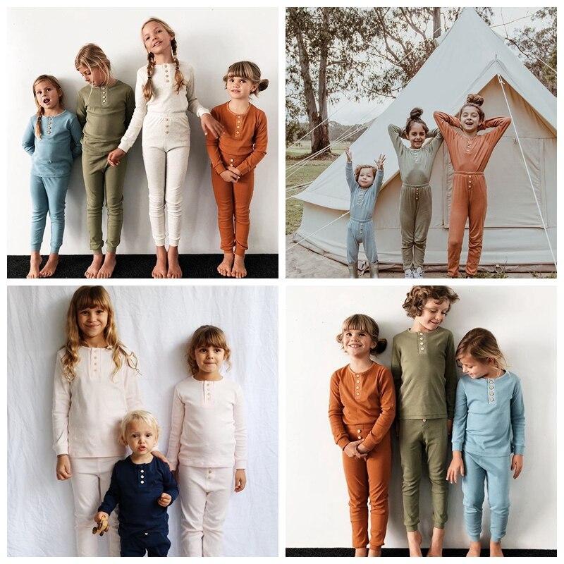 Conjuntos de pijamas ajustados y ajustados con canalé para chico, ropa Unisex para niños y niñas, ropa para niños, ropa para niños, conjunto de PJ, ropa para dormir