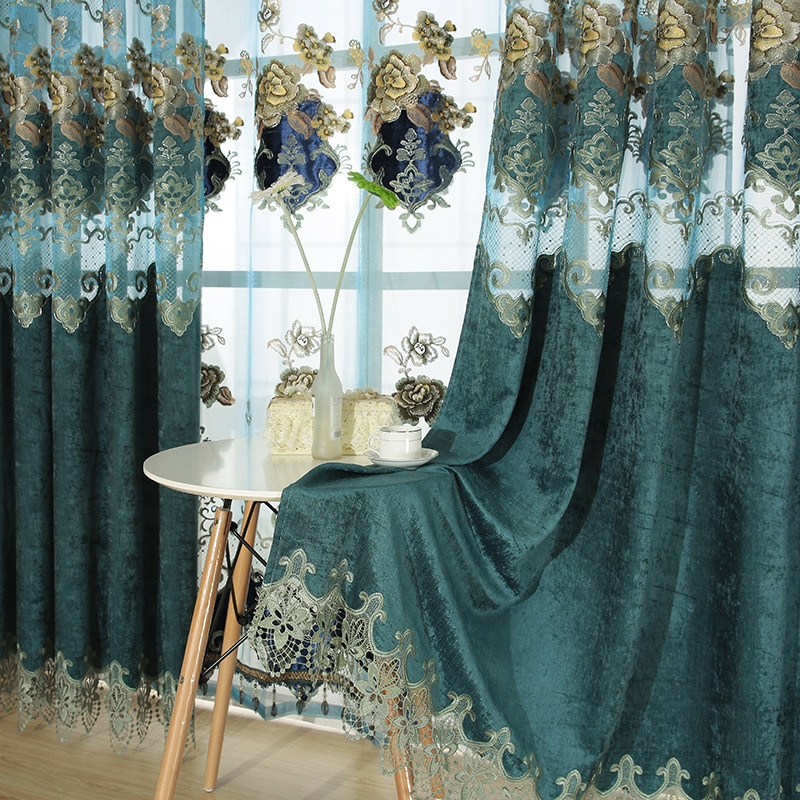 Korean Polyester Cotton Embroidered Tulle Window Curtains For living Room Bedroom Curtains Window Treatment Drapes