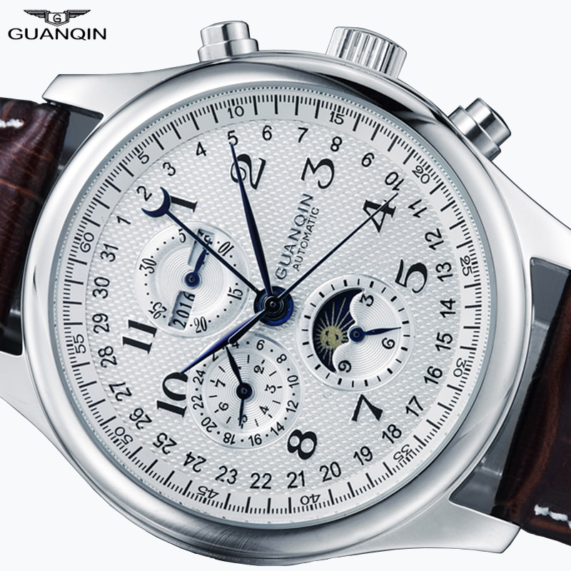 GUANQIN Relogio Masculino Automatic Mechanical Men Watches Waterproof Calendar Moon Leather Wristwatch dropshipping 2018