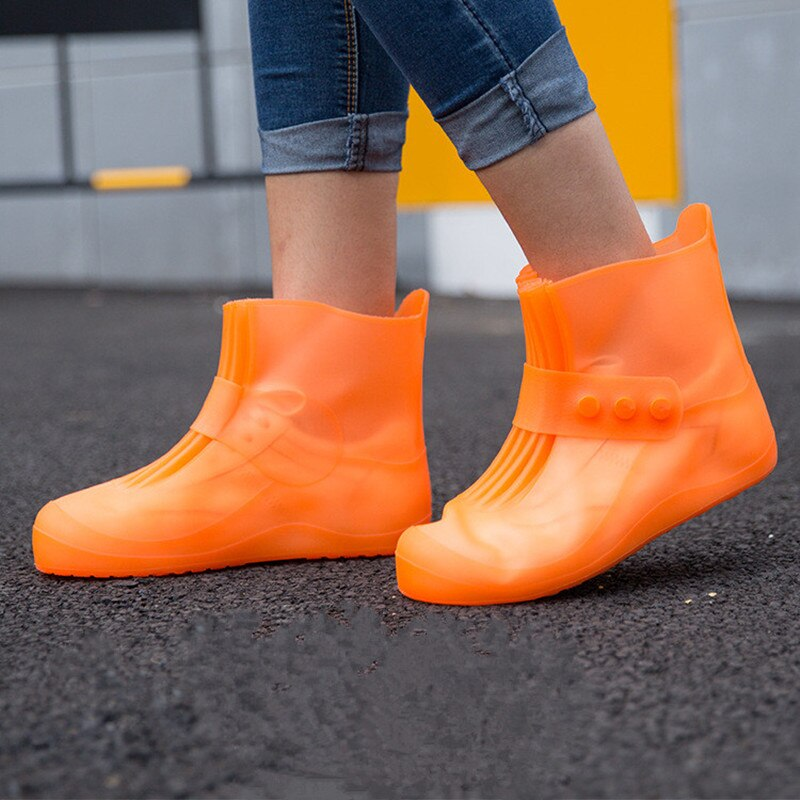 Children Waterproof Reusable Ankle Rain Shoes Covers Boys Girls Rubber Buckle Non-slip Rain Boot Overshoes Accessories Rain Wear