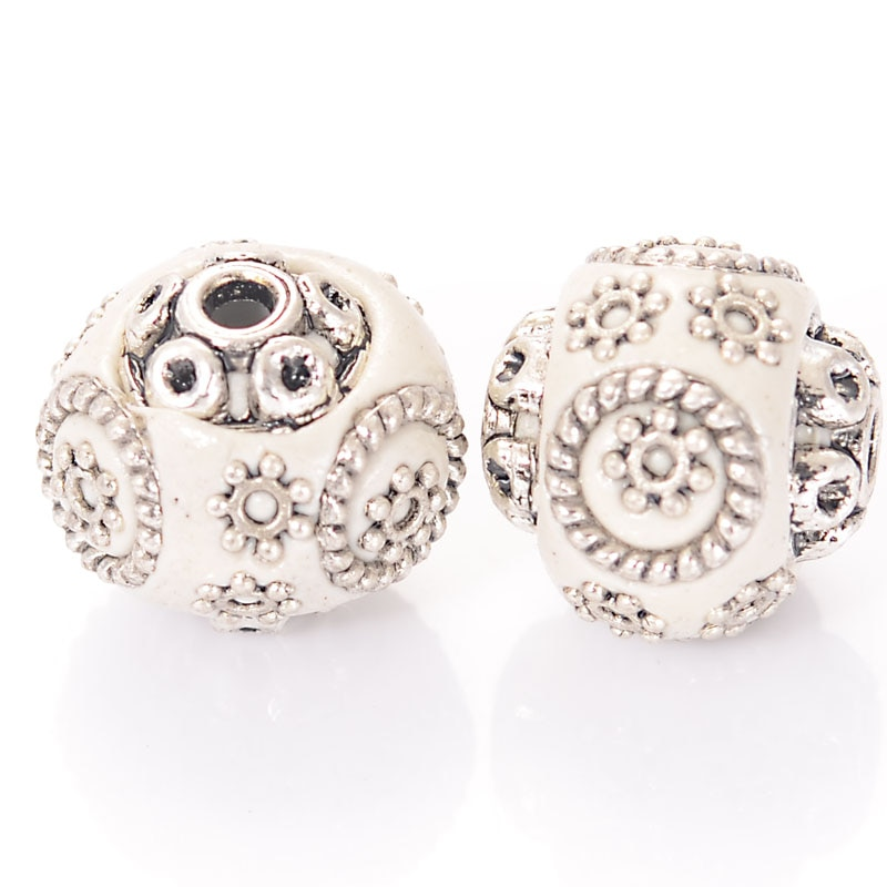 10 stücke Handgemachte Indonesien Lose Elegante Schmuck Machen Armband Bijoux Spacer Perlen Strass Legierung Antike Silber Metall Farbe
