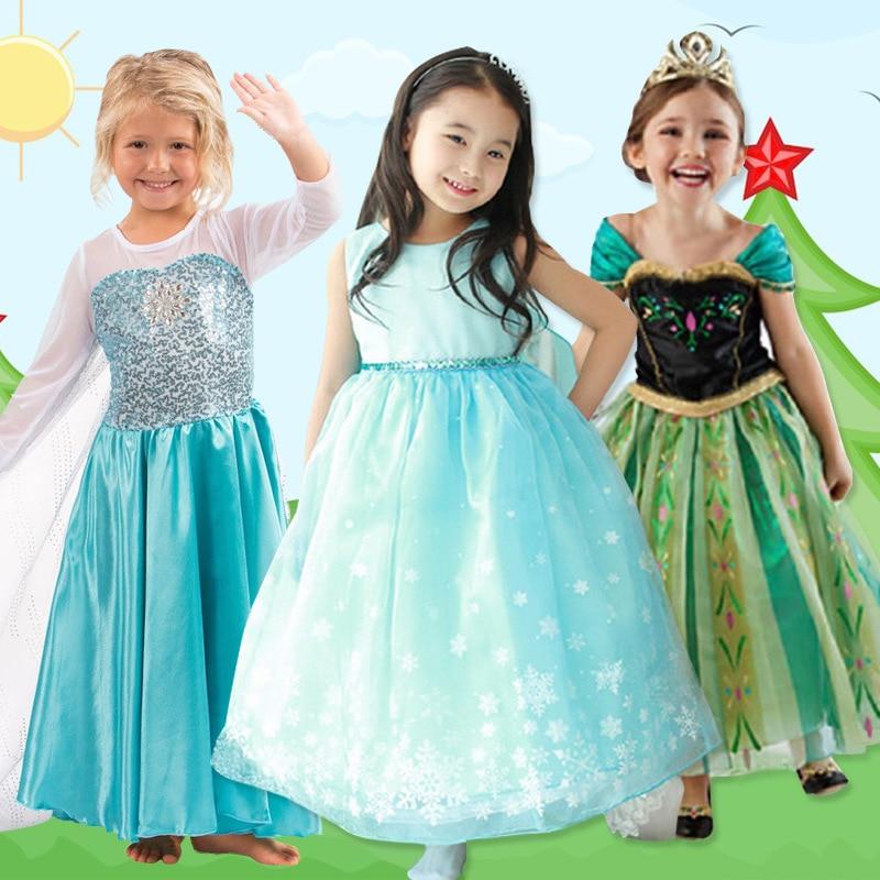 Elsa & Anna moda de cumpleaños Ice Snow Queen fiesta disfraz Cosplay vestido para niñas Cenicienta Blancanieves princesa