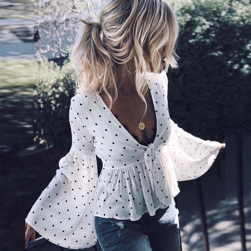 Camiseta de verano 2019 para mujer, camiseta de manga larga con lunares y volantes, camiseta Top informal, camiseta para mujer