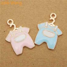 Julie Wang 6 шт Детские Тканевые амулеты эмаль смешанный розовый синий золотой кулон разных тонов для ожерелья браслета DIY ювелирных изделий