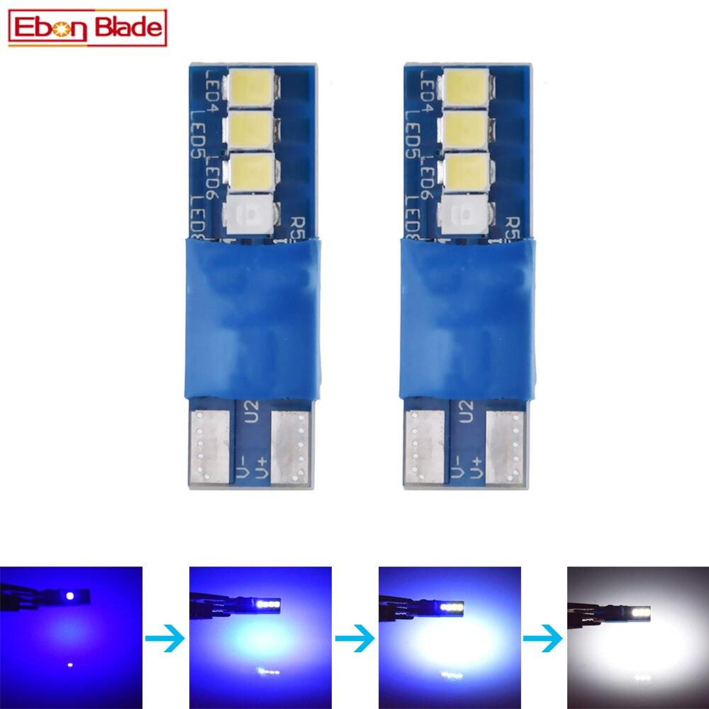 Par T10 5W5 LED Bombilla de coche cambia de Color azul a blanco W5W 194 168 Interior Domo mapa luz de lectura 3030 8SMD estilo automático 12V lámpara