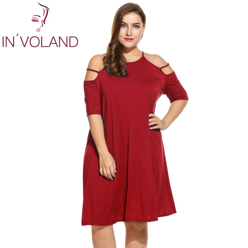 IN'VOLAND Women's Sexy Dress Oversized Spaghetti Strap Cold Shoulder Half Sleeve Casual Dresses Feminino Vestidos Plus Size 4XL