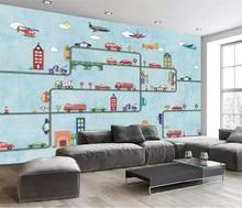 Papel de pared, papel tapiz con mural fotográfico 3D para paredes, Fondo de cine 3D, rollo de papel de pared de habitación para niños y coches de dibujos animados