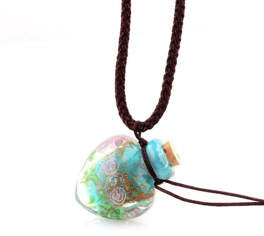 Fashion Flower Pendant Necklace Colorful Lampwork glass Pendant Necklace Essential Oil Diffuser Heart Perfume Bottle