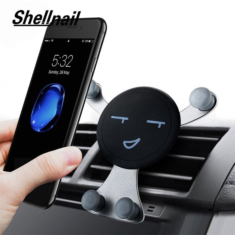 SHELLNAIL coche soporte de teléfono para aire acondicionado Smartphone GPS la gravedad está Universal soporte para móvil de coche Auto teléfono soporte para coche