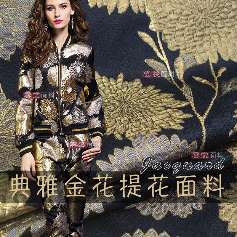 Traje de tela jacquard de seda dorada de 152 cm cheongsam tela de Vestido tejido para vestido de jacquard venta al por mayor de tela