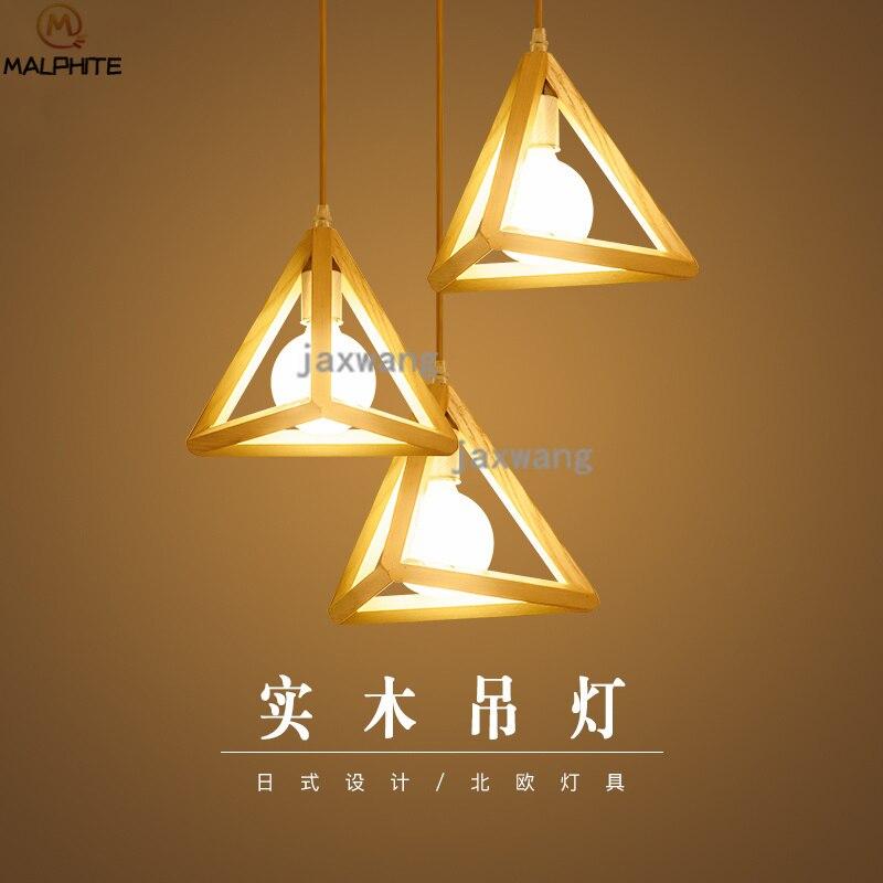 Lámparas colgantes de madera Led Tom, lámpara colgante de triángulo de madera nórdica, barra de restaurante, lámparas colgantes de madera modernas para Cocina