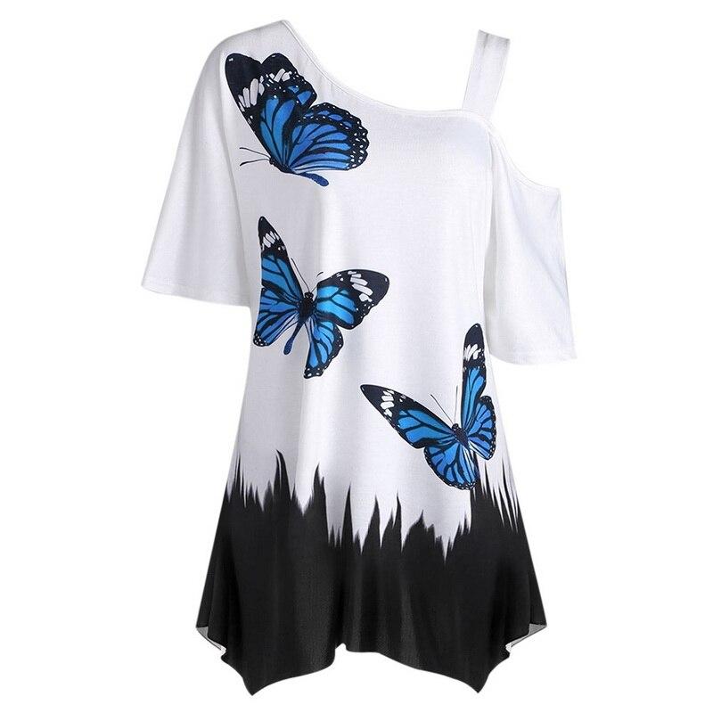 LASPERAL Summer T-Shirts Women Butterfly Printed Tee One Shoulder Irregular Top Female Plus Size Loose Tee Top Streetwear
