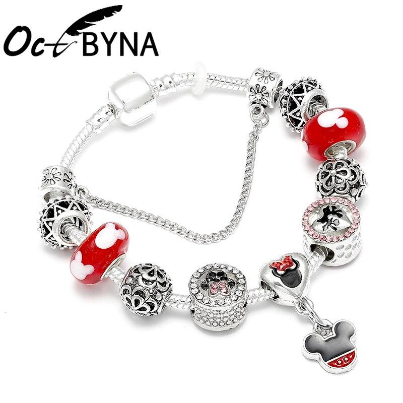 OCTBYNA Placa de Color plata Mickey Minnie pulsera de encanto para chica cuentas de cristal Rojas pulseras de la marca para las mujeres de la joyería de DIY regalos