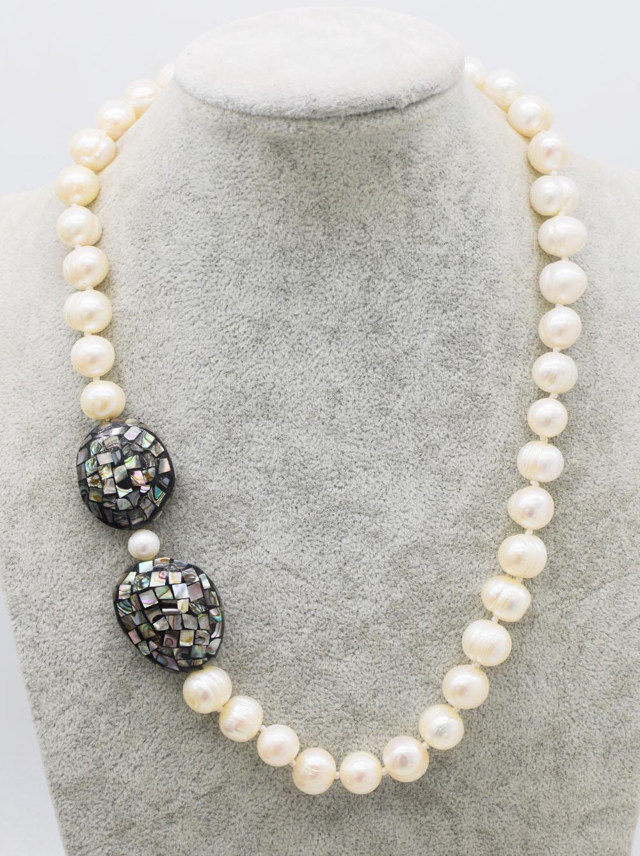 Perla de agua dulce blanca cerca de 11-12mm y abalone shell collar 19nch nature beads FPPJ al por mayor