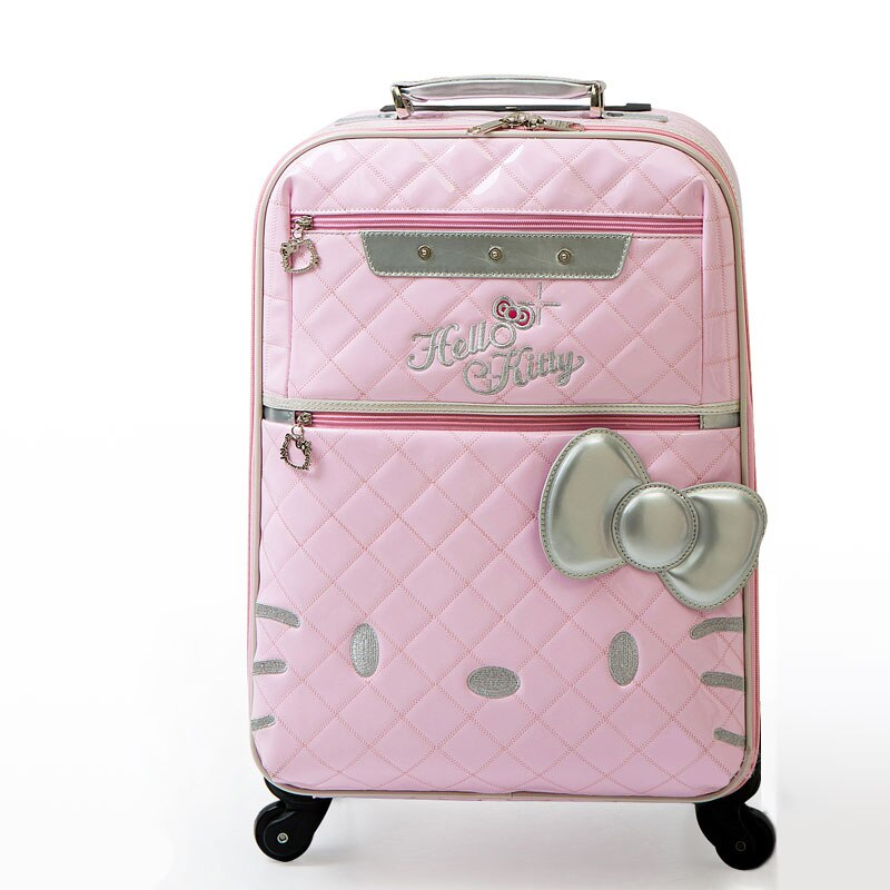 Maletas Retro de cuero pu con ruedas universales, hello kitty maletas de viaje de alta calidad, maletas rosas