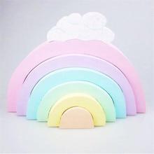 Baby Toys 6Pcs Rainbow Blocks Wooden Toys For Kids Creative Game Rainbow Building Blocks Boys Girls Educational Toy